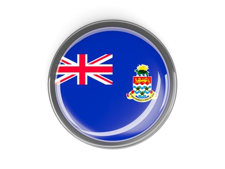 cayman islands: Metal framed round button with flag of cayman islands