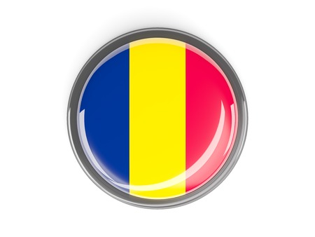 chad: Metal framed round button with flag of chad Stock Photo