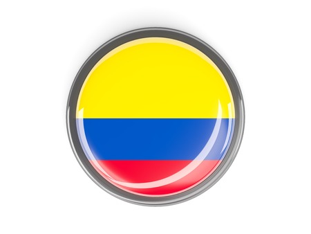 Metal framed round button with flag of colombia photo