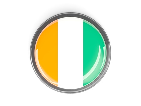 cote ivoire: Metal framed round button with flag of cote d Ivoire