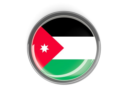 Metal framed round button with flag of jordan photo