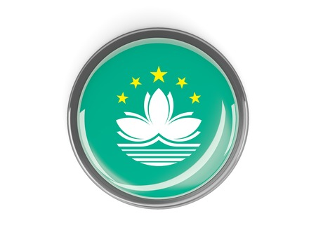macao: Metal framed round button with flag of macao