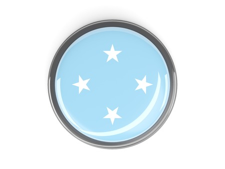micronesia: Metal framed round button with flag of micronesia Stock Photo
