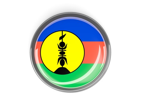new caledonia: Metal framed round button with flag of new caledonia