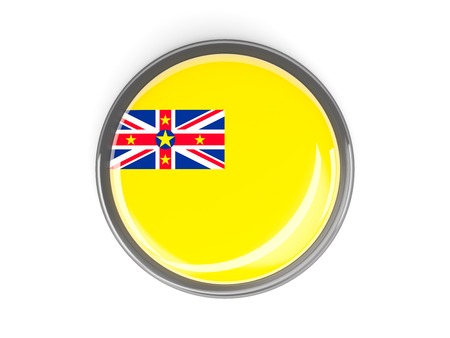 niue: Metal framed round button with flag of niue
