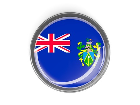 pitcairn: Metal framed round button with flag of pitcairn islands