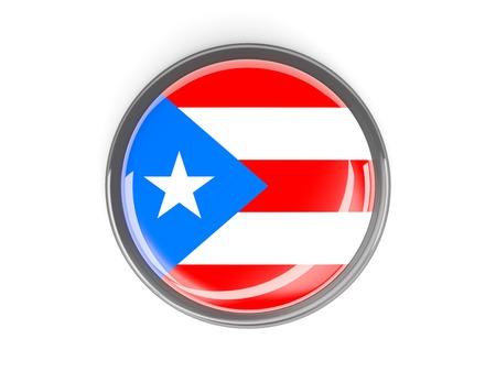 bandera de puerto rico: Metal enmarcado bot�n redondo con la bandera de Puerto Rico