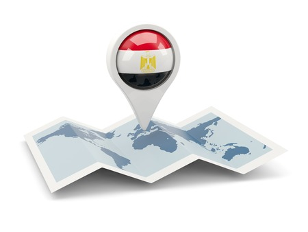 Round pin with flag of egypt on the map photo
