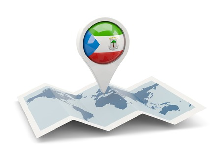 equatorial guinea: Round pin with flag of equatorial guinea on the map