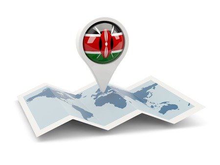 Round pin with flag of kenya on the map photo