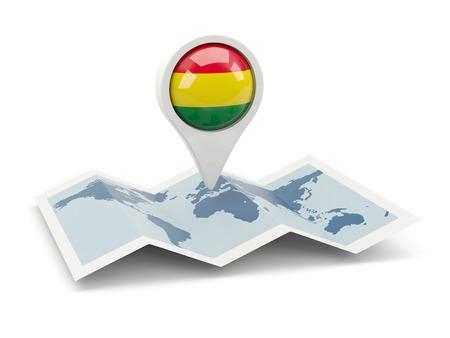 mapa de bolivia: Clavija redonda con la bandera de Bolivia en el mapa