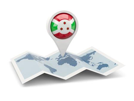 Round pin with flag of burundi on the map photo
