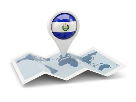 mapa de el salvador: Clavija redonda con la bandera de El Salvador en el mapa