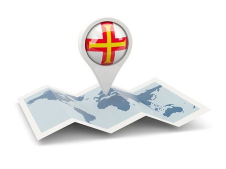 Round pin with flag of guernsey on the map photo