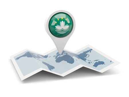 macao: Round pin with flag of macao on the map