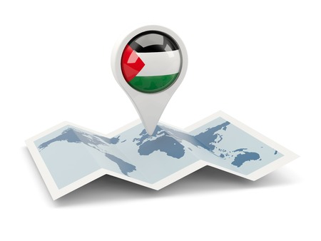 palestinian: Round pin with flag of palestinian territory on the map