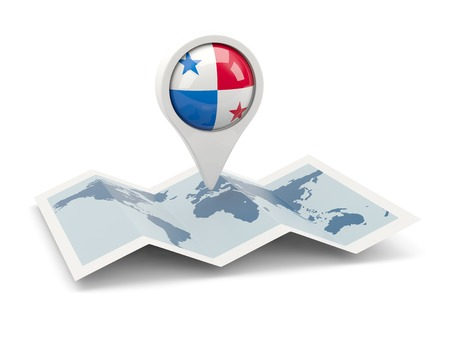 panama flag: Round pin with flag of panama on the map Editorial