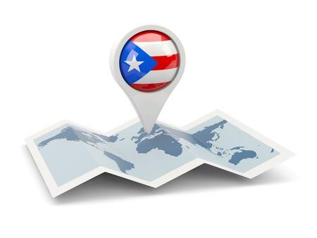 bandera de puerto rico: Clavija redonda con la bandera de Puerto Rico en el mapa