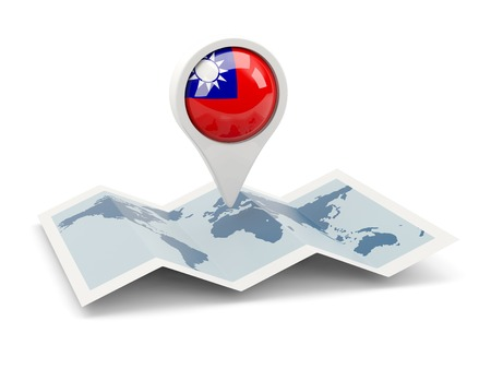Round pin with flag of republic of china on the map photo