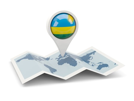 Round pin with flag of rwanda on the map photo