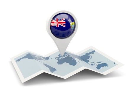helena: Round pin with flag of saint helena on the map Stock Photo