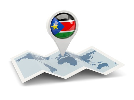south sudan: Round pin with flag of south sudan on the map Stock Photo