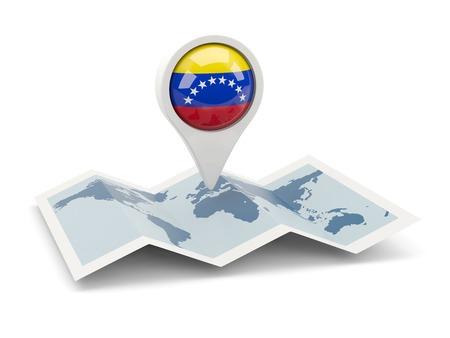 mapa de venezuela: Clavija redonda con la bandera de Venezuela en el mapa Foto de archivo