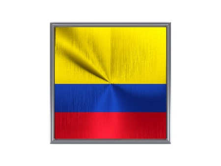Square metal button with flag of colombia isolated on white photo