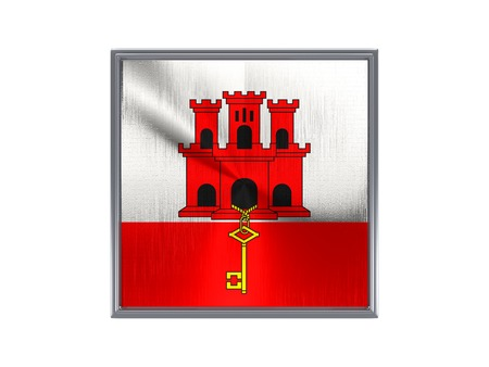 gibraltar: Square metal button with flag of gibraltar isolated on white Stock Photo