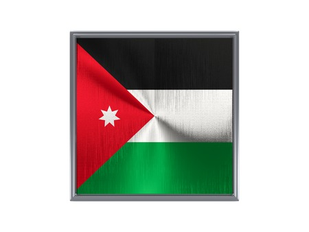Square metal button with flag of jordan isolated on white photo