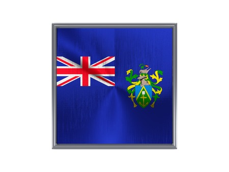 pitcairn: Square metal button with flag of pitcairn islands isolated on white Stock Photo