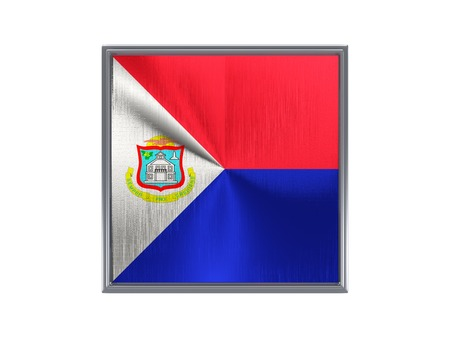 sint: Square metal button with flag of sint maarten isolated on white Stock Photo