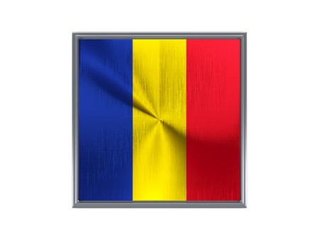 Square metal button with flag of romania isolated on white photo