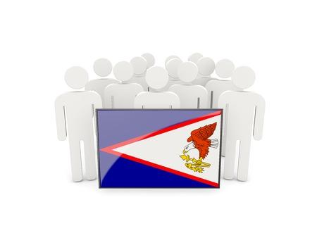 samoa: People with flag of american samoa isolated on white Stock Photo