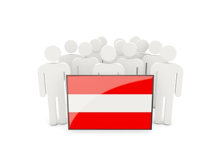 political rally: People with flag of austria isolated on white