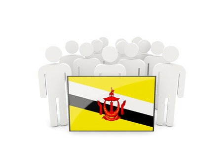 political rally: People with flag of brunei isolated on white