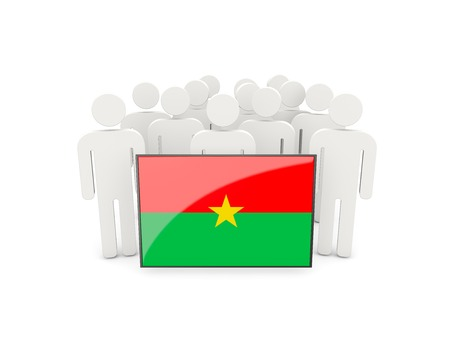political rally: People with flag of burkina faso isolated on white