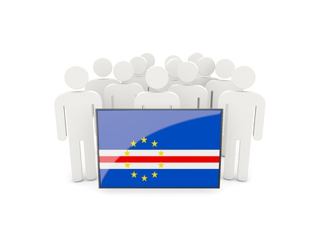 verde: People with flag of cape verde isolated on white