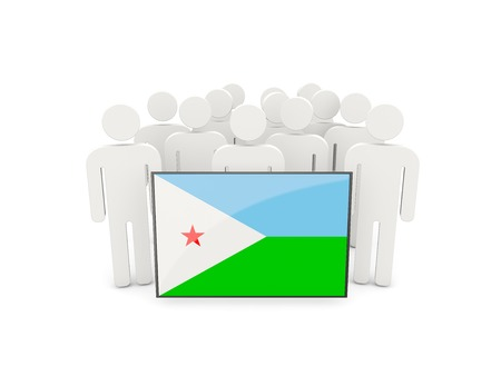 political rally: People with flag of djibouti isolated on white