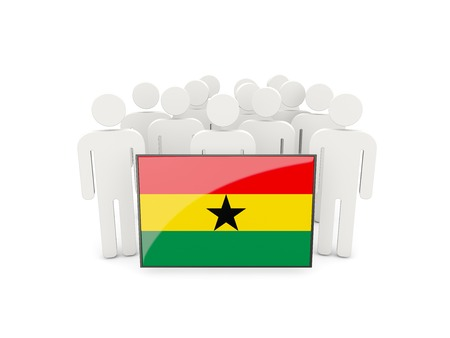 political rally: People with flag of ghana isolated on white Stock Photo