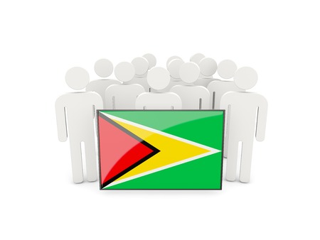 guyana: People with flag of guyana isolated on white