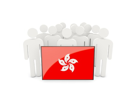 political rally: People with flag of hong kong isolated on white