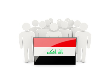 political rally: People with flag of iraq isolated on white