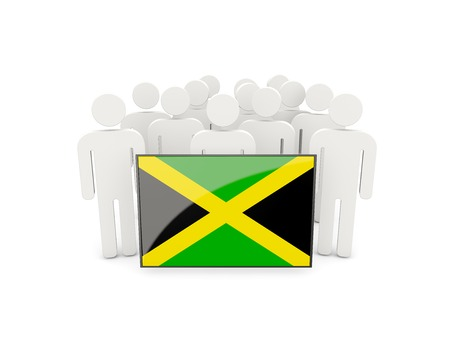 political rally: People with flag of jamaica isolated on white