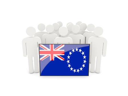 political rally: People with flag of cook islands isolated on white Stock Photo