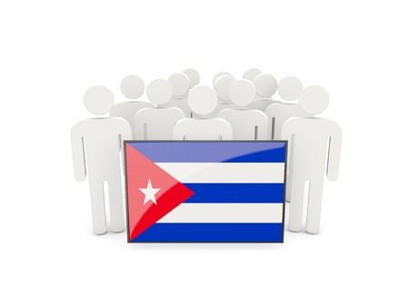 flag of cuba: People with flag of cuba isolated on white