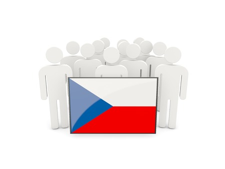political rally: People with flag of czech republic isolated on white Stock Photo