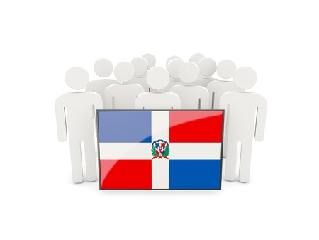 political rally: People with flag of dominican republic isolated on white