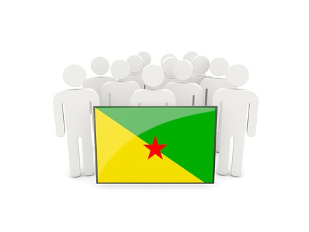 french guiana: People with flag of french guiana isolated on white