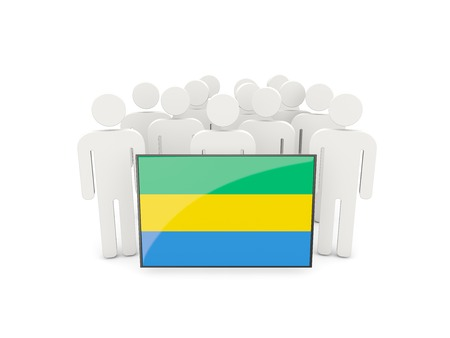 political rally: People with flag of gabon isolated on white Stock Photo